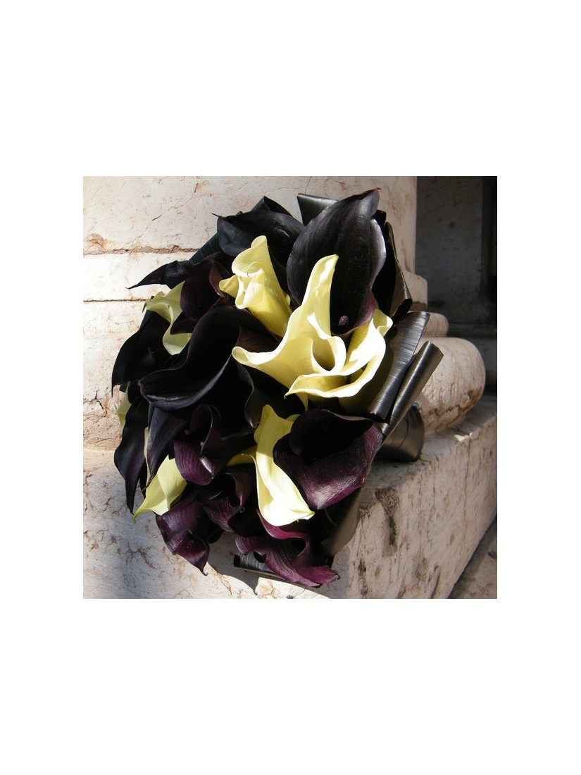 Bridal bouquet from black calla lilies
