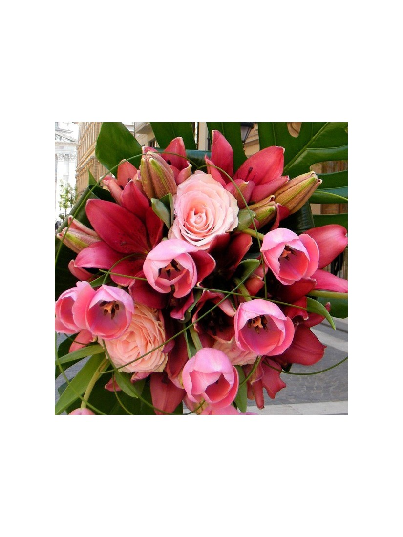 Bouquet with unity of tulips lilies