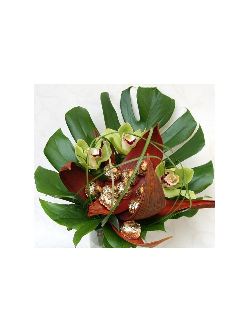 Csokoládés orchidea csokor - ballagási csokor
