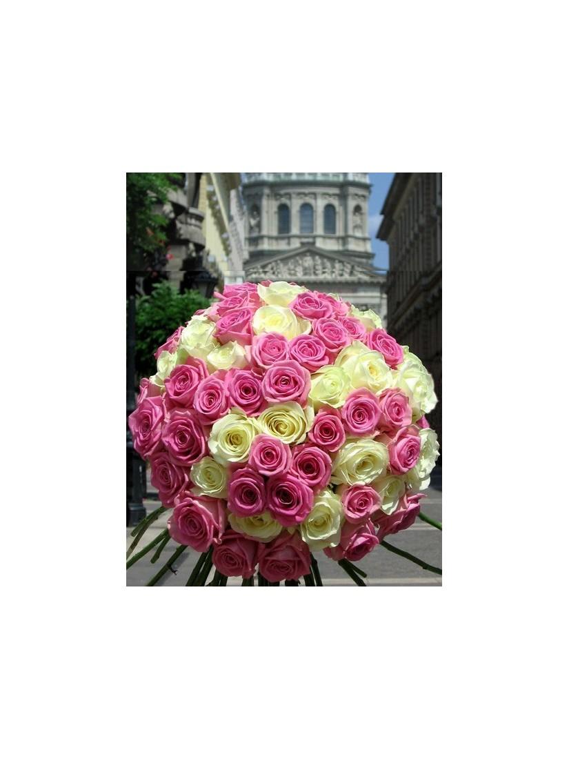 60 szálas hatalmas, tömör rózsacsokor pink és fehér rózsából