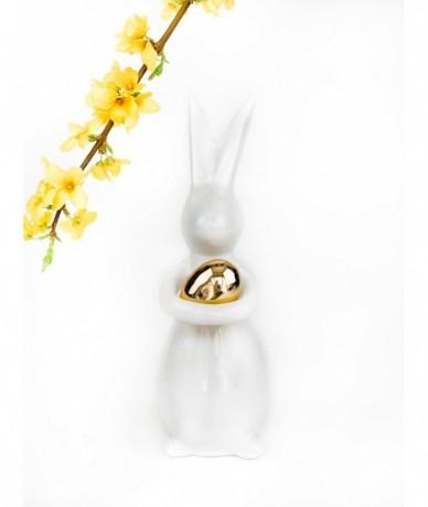 Húsvéti dísz porcelán nyuszival és arany tojással