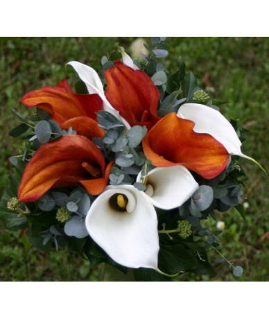 Colourful calla bouquet