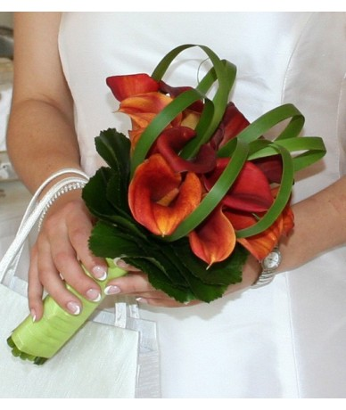 Mango calla wedding bouquet