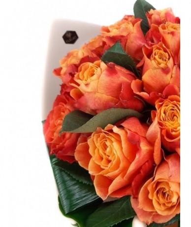 Tűznarancs rózsacsokor - Fleurt virágküldés Budapesten