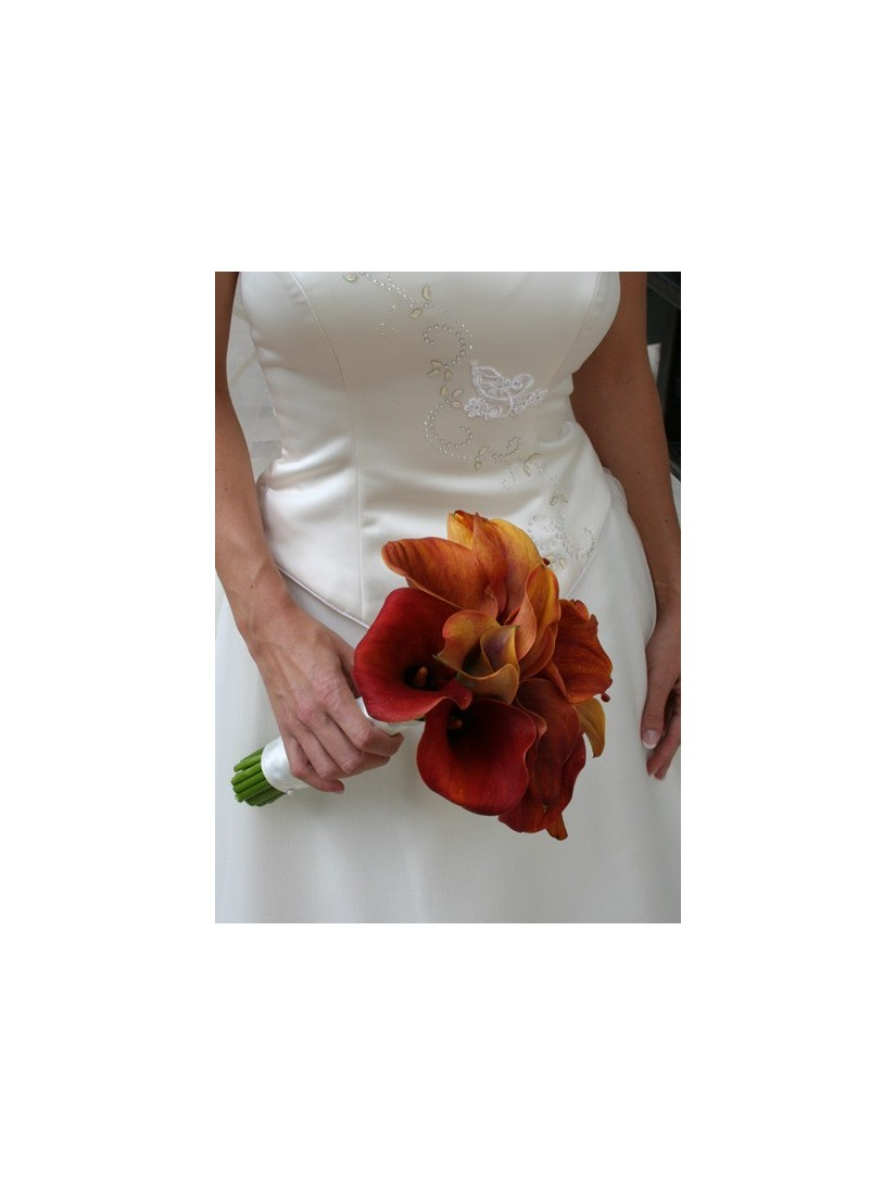 Round orange calla bridal bouquet