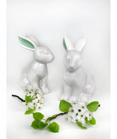 Zöldfülű porcelán nyuszi húsvétra