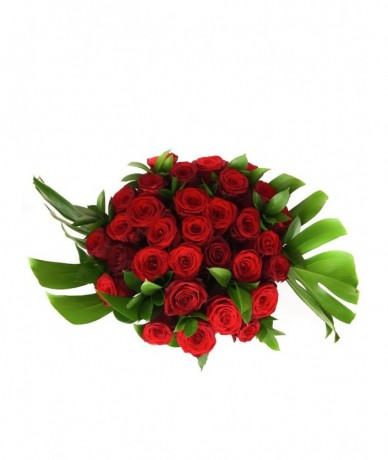 30 szálas rubinvörös luxus rózsacsokor - virágküldés kedvencei