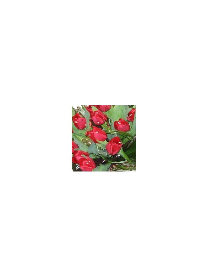 Swarovski kristályok 30 szálas piros tulipáncsokron