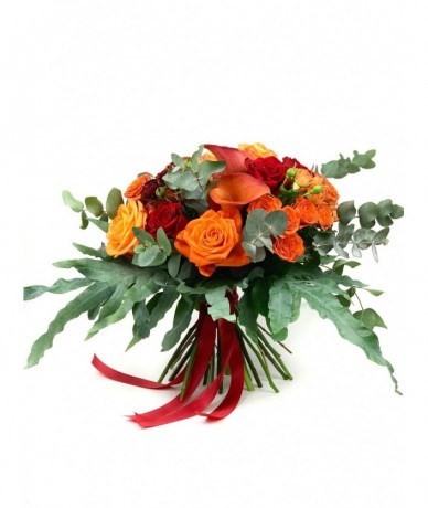Mixed flower bouquet with warm colours