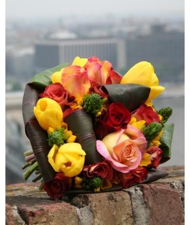 Sárga- narancs-pink virágcsokor - virág házhozszállítás