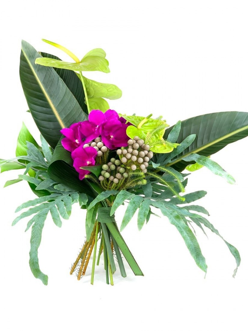 Exotic bouquet from anthurium and orchids