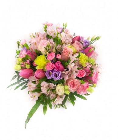 pastel round flower rich bouquet