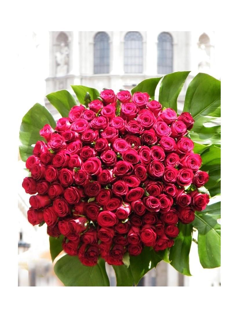 100 szálas vörös rózsacsokor