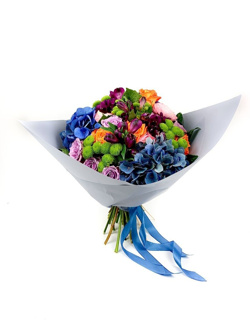 round colourful posy in vivid happy style