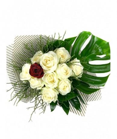 White roses embrace one stem of burning red rose