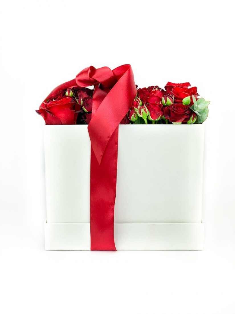 square box composition of red roses