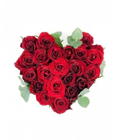 Vörös Rózsaszív rózsadoboz L méretben