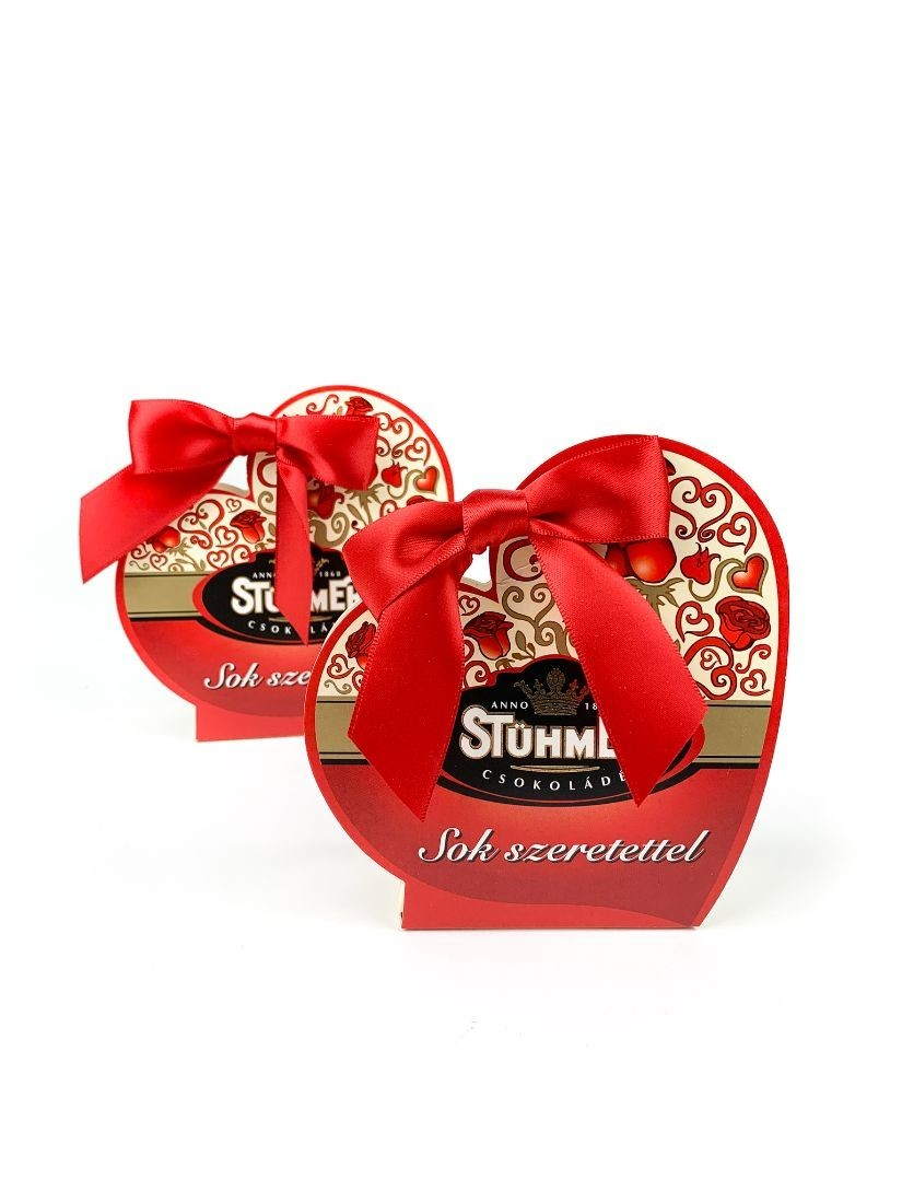 Heart shaped chocolate box included three different chocolate.