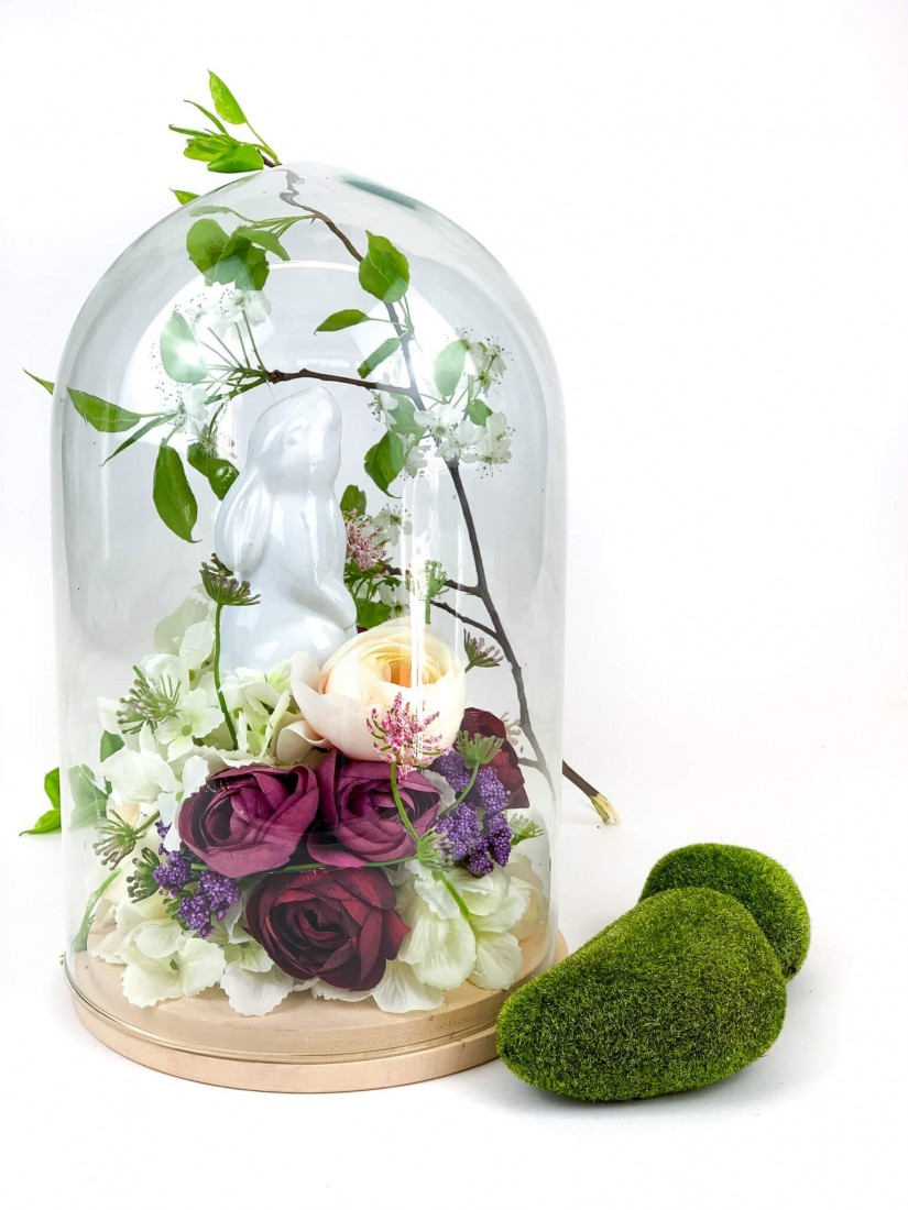 easter composition under a glass dome