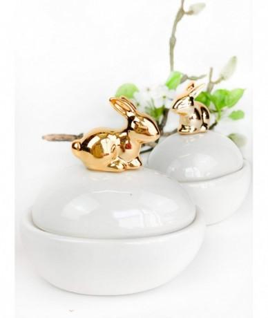 Fehér porcelán ékszertartó arany nyuszival