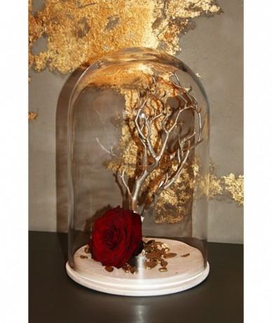 Vörös tartós rózsakompozíció üvegbúra alatt