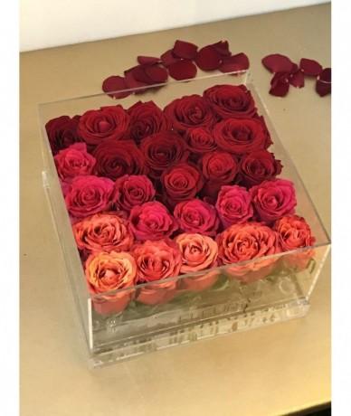 Ombre akril rózsa doboz csodaszép rózsák légyottja