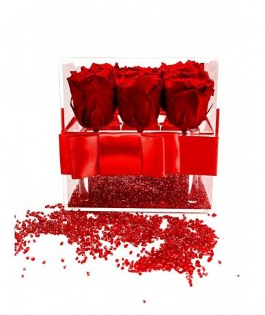 9 szál tartós izzó vörös rózsa szenvedélyes kompozíciója