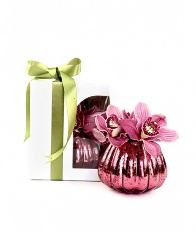 Orchidea díszdobozban, pink vázában