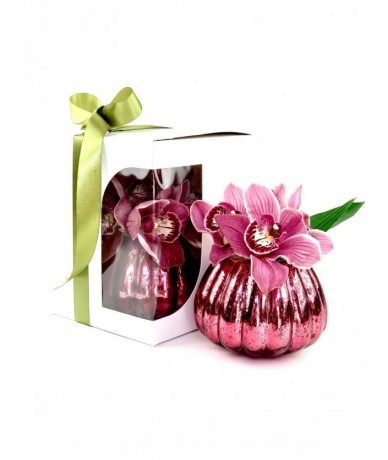 composition of cymbidium orchid in box and in vase