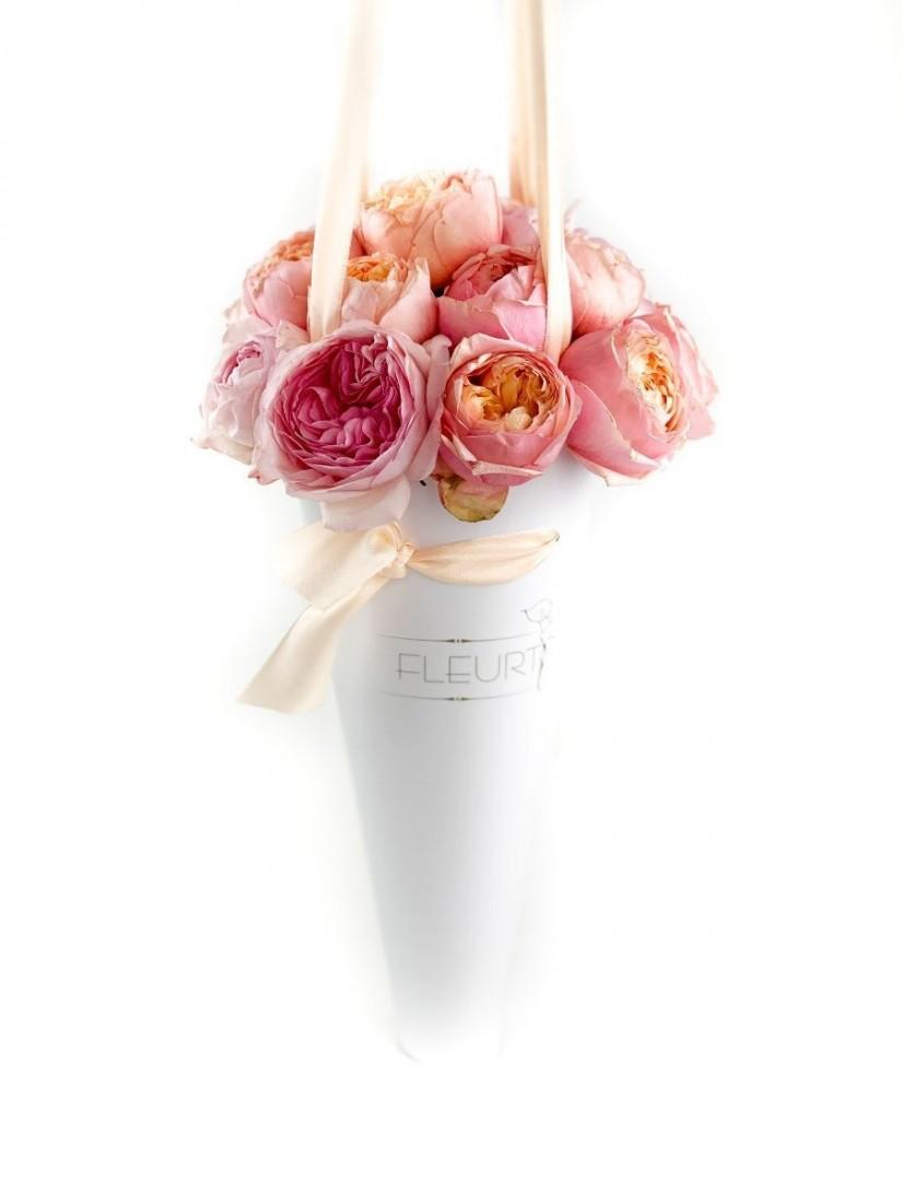roses in paper cone