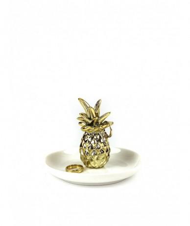 Ananászos gyűrűtartó porcelán ajándék