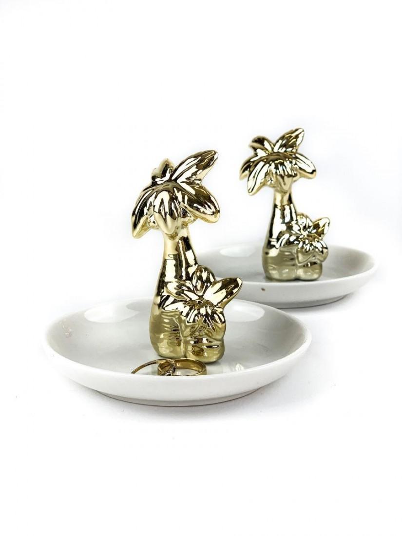 Pálmafás porcelán gyűrűtartó ajándék