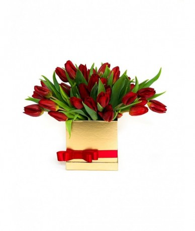 Tulips in golden box