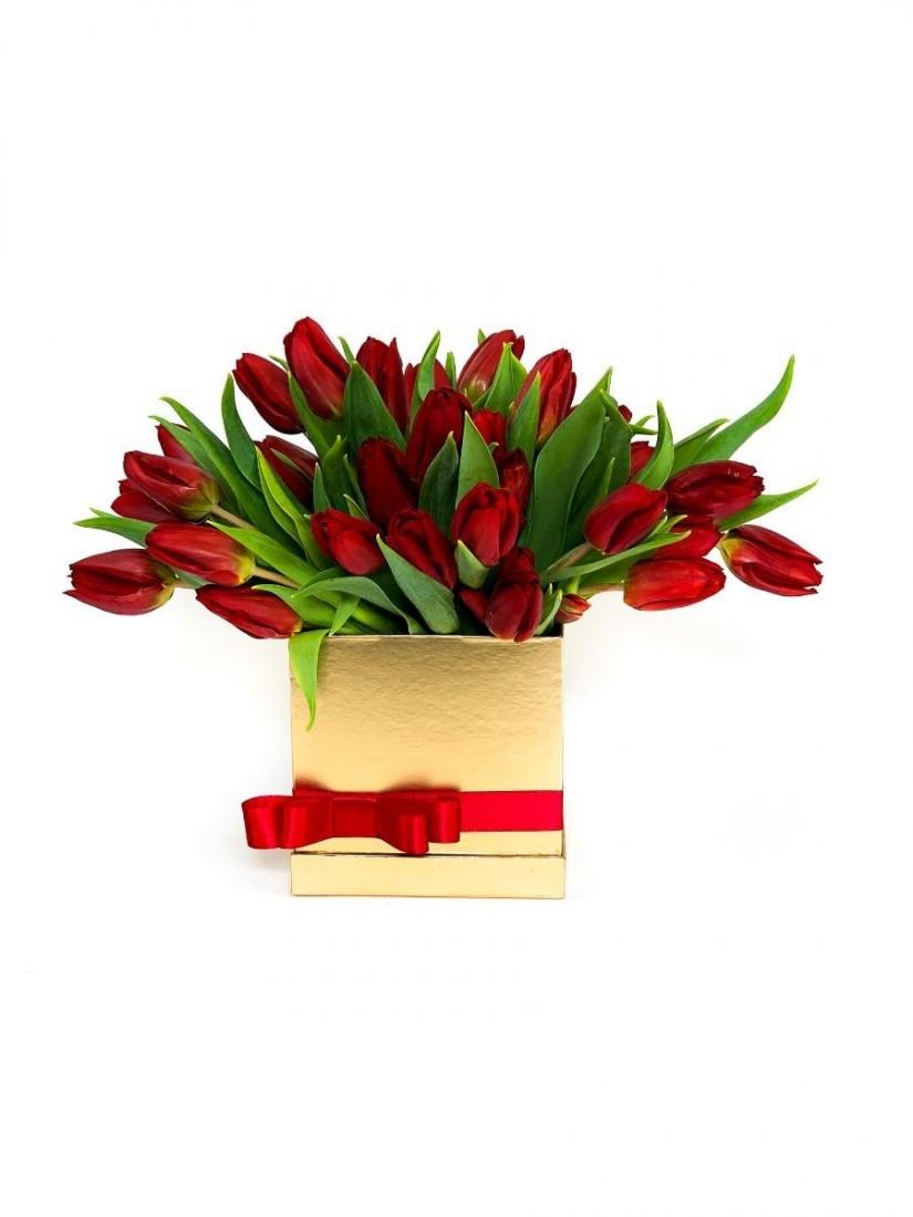 Tulips in golden box
