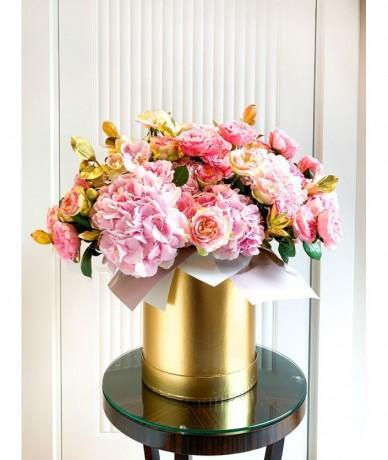 Arany dobozban rózsaszín virágfelhő - hercegnői virágdoboz - XL