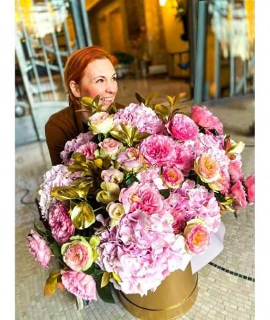 Arany dobozban rózsaszín virágfelhő - hercegnői virágdoboz- XL