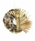Natúr termésekből készített kopogtató, arany levél s arany róka