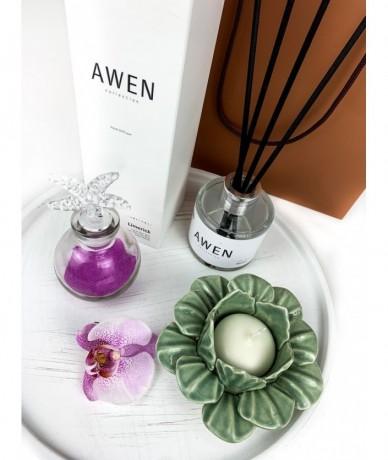 Illatos ajándék csomag hölgyeknek -Awen illatpáálcák, kerámia lótuszvirág mécsestartó, a kis tengeri üvegcse