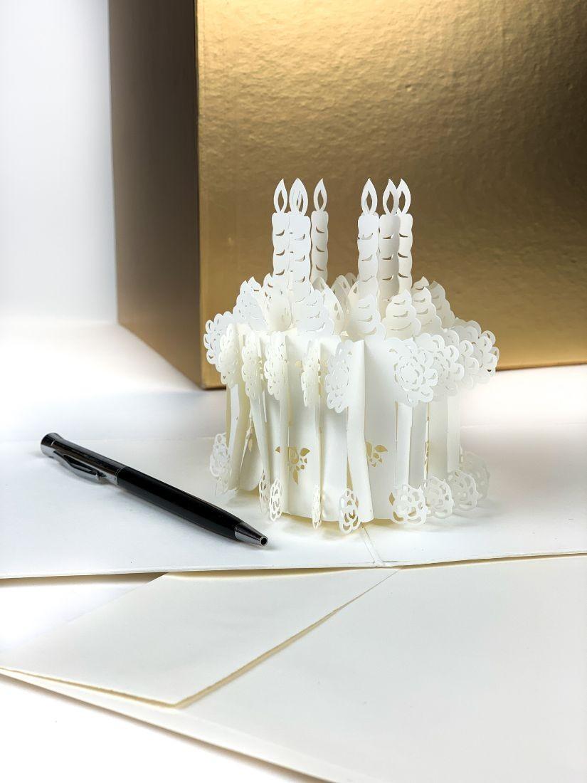 3D gift card - open for a cake souvenir