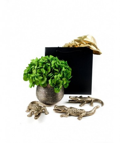 Gold alligators with flower home decor