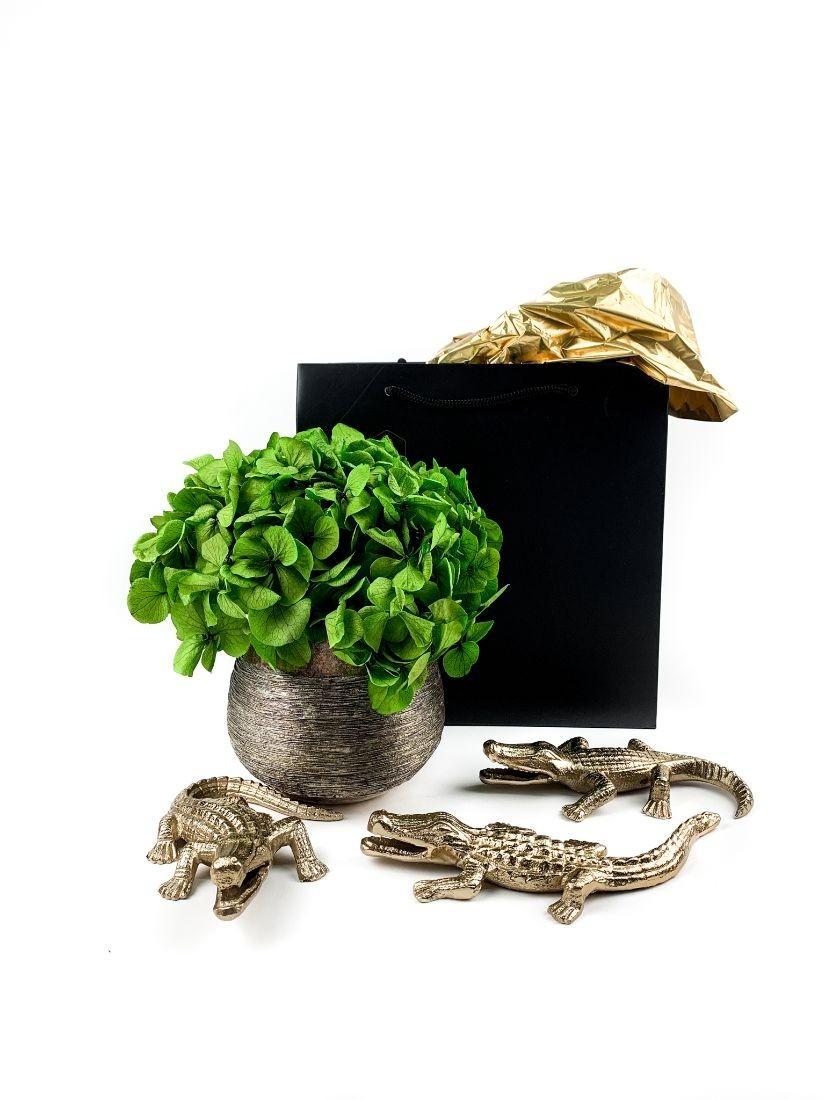 Fémből készült kedves kis arany aligátorok zöld hortenziával