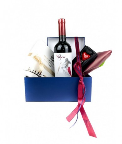 Wine, chocolate, souvenir - perfect gift hamper