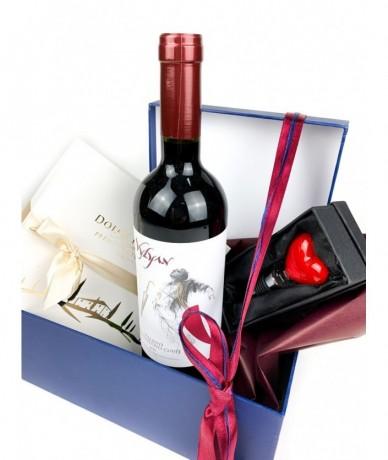 Wine, chocolate, souvenir - perfect gift hamper