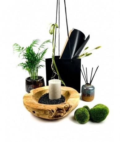 Fa, kavics, moha, zöld növény, gyertyafény és illatok kellemes ajándék összeállítása