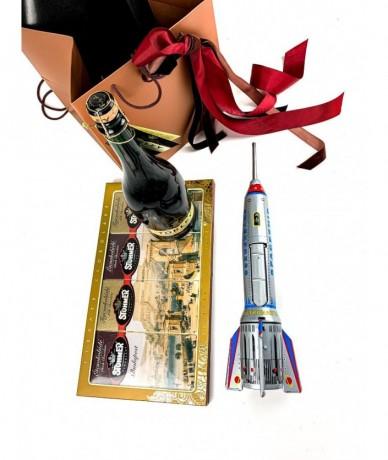 Retró ajándékdoboz - rakéta, csokoládé, Törley pezsgő díszcsomagolásban