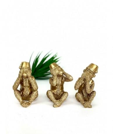 A három majomforma - nem lát, nem hall, nem beszél - klasszikus fém-arany motívummal