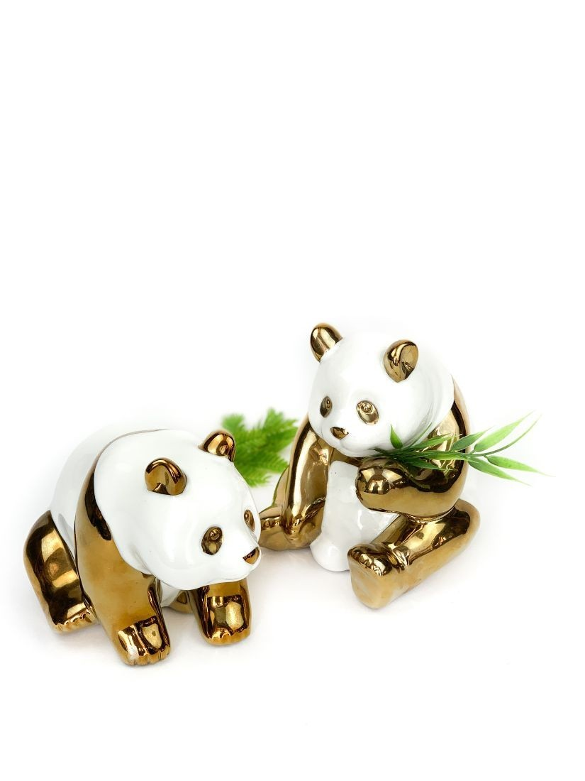 Gold and white ceramic pandas - Online gifts to Budapest