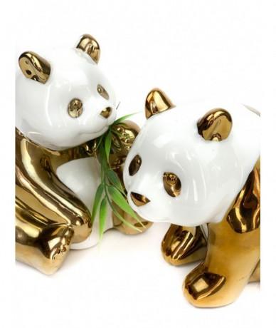 Kerámia pandamaci fehér és fényes arany mintával