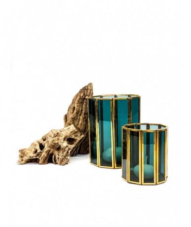 Csodás színű üveg mécsestartók tízszögű aranykeretezéssel