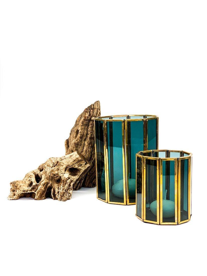 Dark blue glass tealight holder gift for men